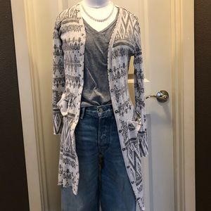 Long cardigan duster buckle